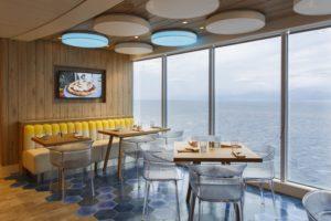 Table du restaurant vue mer à bord du Costa Smeralda